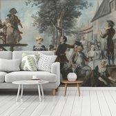 Fotobehang vinyl - De bruiloft van Kloris en Roosje - Schilderij van Cornelis Troost breedte 450 cm x hoogte 360 cm - Foto print op behang (in 7 formaten beschikbaar)