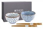 Tokyo Design Studio 7448 Kommenset Rond Blauw, Wit 2stuk(s) eetschaal