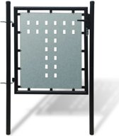 vidaXL Tuinpoort enkele deur zwart 100 x 125 cm
