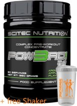 Scitec Nutrition - Pow3RD 2.0 - Complex Pre-Workout Concentrate - Aruosing Apple Flavor - 350 g - 50 porties + sportandmore shaker