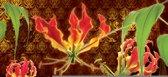 Fotobehang Bloemen | Bruin, Groen | 312x219cm