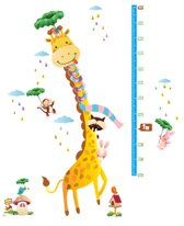 DW4Trading® Groeimeter muursticker giraffe met sjaal