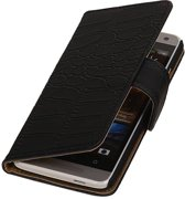 Wicked Narwal   Croco bookstyle / book case/ wallet case Hoes voor HTC One mini M4 Zwart