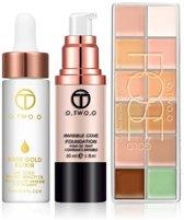 Palet 12 Kleuren - Olie Primer - Vloeibare Foundation Color Nude (3 Delig)