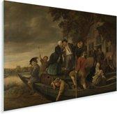 Het vrolijk huiswaartskeren - Schilderij van Jan Steen Plexiglas 60x40 cm - Foto print op Glas (Plexiglas wanddecoratie)