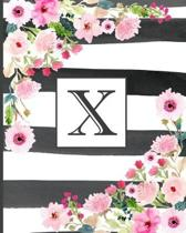 X: Pretty Monogram Initial Letter X Lined Notebook for Women or Girls to Write In - Black & White Stripes with Floral Des