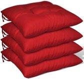 Stoelkussens 40x40x8 cm rood 4 st (incl. Pluizenroller)