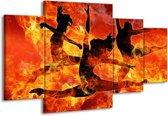Canvas schilderij Dansen | Zwart, Oranje, Geel | 160x90cm 4Luik
