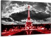 Canvas schilderij Eiffeltoren | Grijs, Rood, Zwart | 140x90cm 1Luik