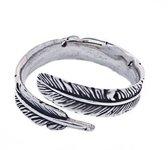 Boho ring  - 925 zilver - maat One-size / verstelbaar / blad - veer