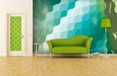Fotobehang Papier Abstract | Groen, Blauw | 368x254cm