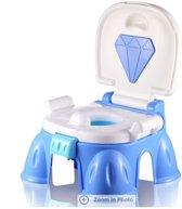 Royalz Koninklijk Plaspotje & Krukje | Limited Edition 2019 | | Luxe diamant plas pot blauw | Beloningsysteem | Met Melodie | Toilet trainer | Zindelijkheidstrainer | Urine potje | Toilet bril verkleiner | Potjes trainer | Kind | Peuter |