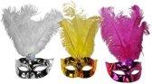 Oogmasker metallic met veren  Roze