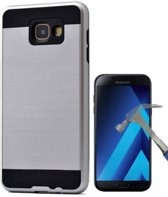 Teleplus Samsung Galaxy A7 2017 Double Layer Cover Case Silver + Glass Screen Protector hoesje