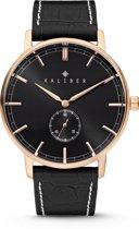 Kaliber 7KW-00004 - Stalen Horloge met Leren Band - Zwart en Rosékleurig - 40 mm