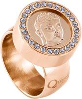 Quiges RVS Schroefsysteem Ring met Zirkonia Rosékleurig Glans 17mm met Verwisselbare Rosé Boeddha 12mm Mini Munt