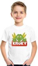 T-shirt wit voor kinderen met Kroky de krokodil - maat XS (110-116)