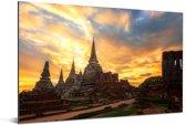 Vurige zonsondergang in Ayutthaya Aluminium 180x120 cm - Foto print op Aluminium (metaal wanddecoratie) XXL / Groot formaat!