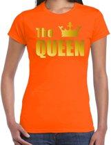 The queen t-shirt oranje met gouden letters en kroon voor dames - Koningsdag - fun tekst shirts 2XL