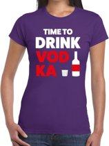 Time to drink Vodka tekst t-shirt paars dames 2XL