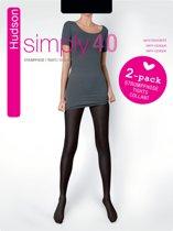Hudson Simply 40 Panty - 40 denier - 2-pack - Zwart - Maat 38-40
