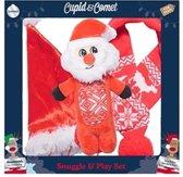 Cupid & comet knuffel en speelset met kerstmuts / sjaal / kerstman 21x7x21,5 cm