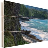 Het strand op de Charlotte-eilanden in Canada Vurenhout met planken 120x80 cm - Foto print op Hout (Wanddecoratie)