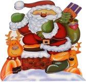 Kerst decoratie raamstickers 3D Kerstman/rendieren 25 x 34 cm