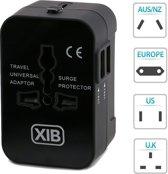 XIB Universele wereld reisstekker met 2 USB-poorten Quick Charge