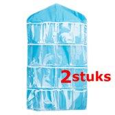 2 STUKS Ophangbare Opbergzak / Organizer met Ophanghaak   Multi Functionele Opbergzak voorzien van 16 Opbergvakken   Voor: Sieraden / Sokken / Ondergoed / Lingerie etc.   Kleding organizer   Handig Opbergen In uw Kledingkast   Kleur: BLAUW (2 Stuks)