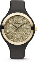Colori Macaron Sparkle 5 COL513 Horloge - Siliconen Band - Ø 44 mm - Zwart / Goudkleurig