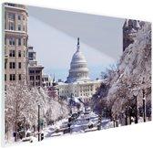 Capitool bij sneeuwval Glas 120x80 cm - Foto print op Glas (Plexiglas wanddecoratie)