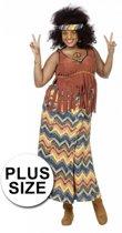 Grote maten hippie kostuum voor dames 44 (2XL)