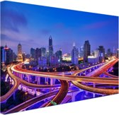 FotoCadeau.nl - Shanghai bij nacht Canvas 120x80 cm - Foto print op Canvas schilderij (Wanddecoratie)