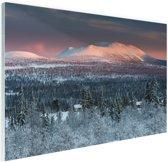 Winters berglandschap Glas 60x40 cm - Foto print op Glas (Plexiglas wanddecoratie)