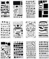 Mijn Bullet Journal Stencils Sjablonen - Handlettering Stencils - Grafische Stencil - 12 stuks - 10x18 cm - 3 mm dik