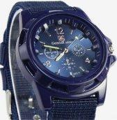 Heren horloge- Blauw- Canvas- 40 mm