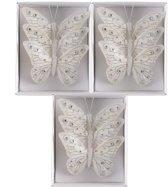 Vlinders Glitter (12cm) Box 9 stuks White