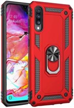 Teleplus Samsung Galaxy A7 2018 Vega Ringed Tank Cover Case Red + Nano Screen Protector hoesje