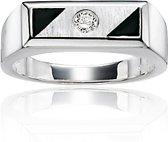 Classics&More - Zilveren Ring - Maat 64 - Rechthoek Met Onix En Zirkonia