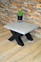 Design85 - Salontafel - X poot staal - Steigerhout blad - 78x78x40