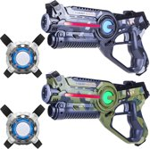 2x Light Battle Laser Pistool - camo groen/grijs + 2x Lasergame Vest