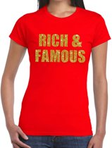 Rich and Famous gouden glitter tekst t-shirt rood dames - dames shirt Rich and Famous M