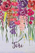Tori: Personalized Lined Journal - Colorful Floral Waterfall (Customized Name Gifts)
