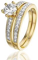 Montebello Ring Zurkel - Dames - Zilver Verguld - Zirkonia - 2-delig – Verloven/Trouwen - maat 58 - 18.5