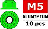 Team Corally - Aluminium zelfborgende zeskantmoer met flens - M5 - Groen - 10 st