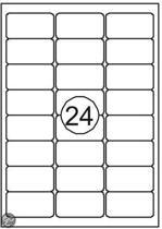 Benza Zelfklevende Etiketten op A4 Vel - 63,5 x 33,9 mm - 24 Stickers per vel - 100 vel