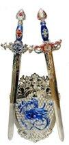 Ridder speel/verkleed set 3-delig blauw zilver