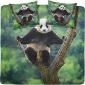 Damai Panda - Dekbedovertrek - 200x200/220 cm - Tweepersoons - Green