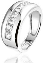 Montebello Ring Diane - Dames - Zilver Gerhodineerd - Zirkonia - Maat 54 - 17.2 mm
